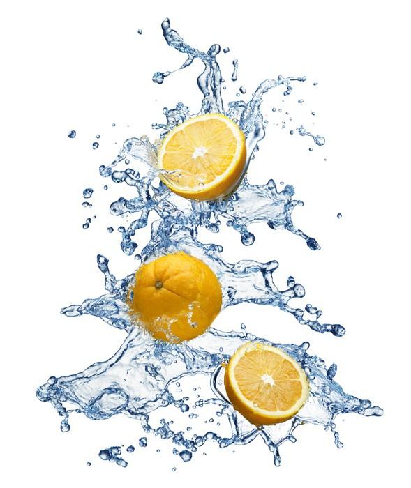 Vinylová Tapeta Orange ovoce a stříkající vodě - Ovoce