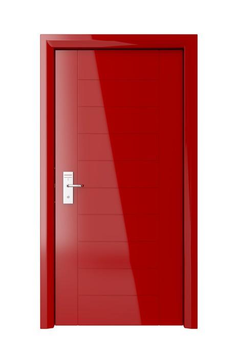 Vinylová Tapeta Červené dveře s elektronickým zámkem - Soukromé budovy