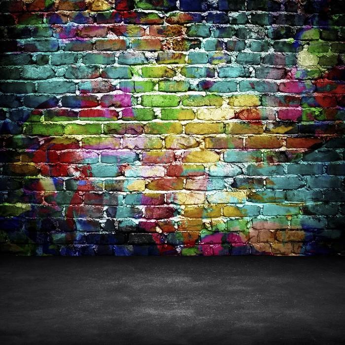 tableau sur toile graffiti mur de brique pixers nous vivons pour changer. Black Bedroom Furniture Sets. Home Design Ideas