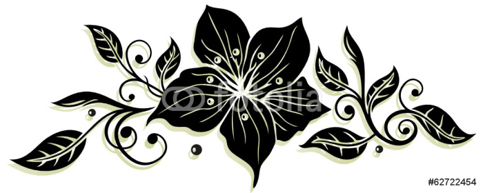 Vinylová Tapeta Blätter Ornament z lilií - Květiny