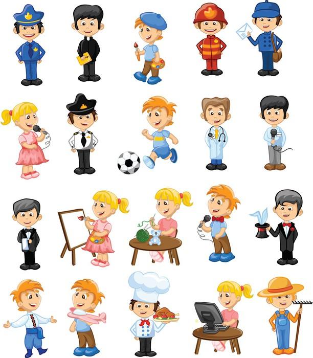 Fotomural Personajes De Dibujos Animados De Diferentes Profesiones • Pixers®