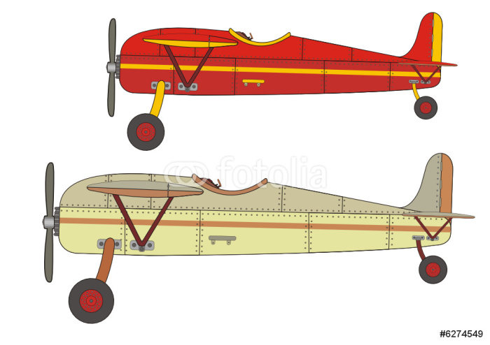 Vinylová Tapeta Airplane old vector drawing - Vzduch