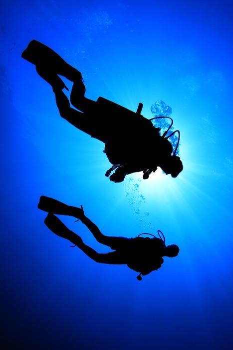 Vinylová Tapeta Dva potápěči silueta - Vodní sporty