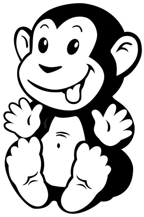 Adesivo cartone animato scimmia bianco nero pixers