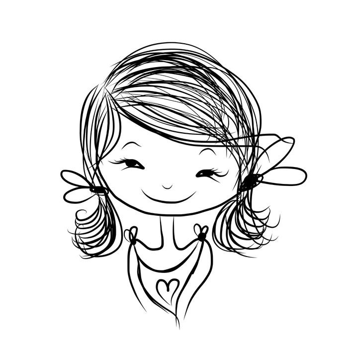 Nálepka Pixerstick Roztomilý dívka s úsměvem, skica pro svůj design - Žena
