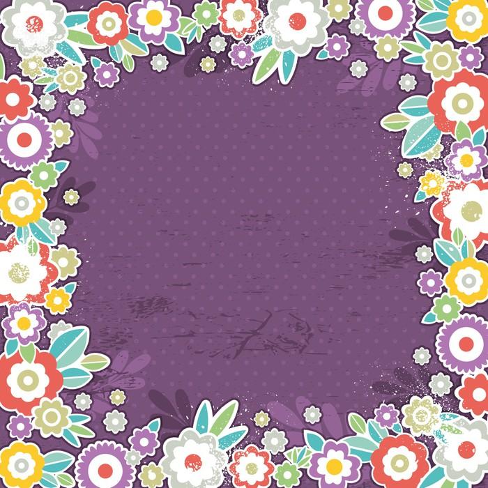 Vinylová Tapeta Fialové pozadí barevných květin, vektor - Roční období