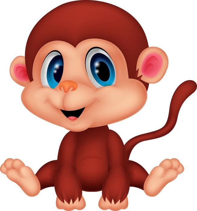 Carta da parati scimmia carino cartone animato pixers