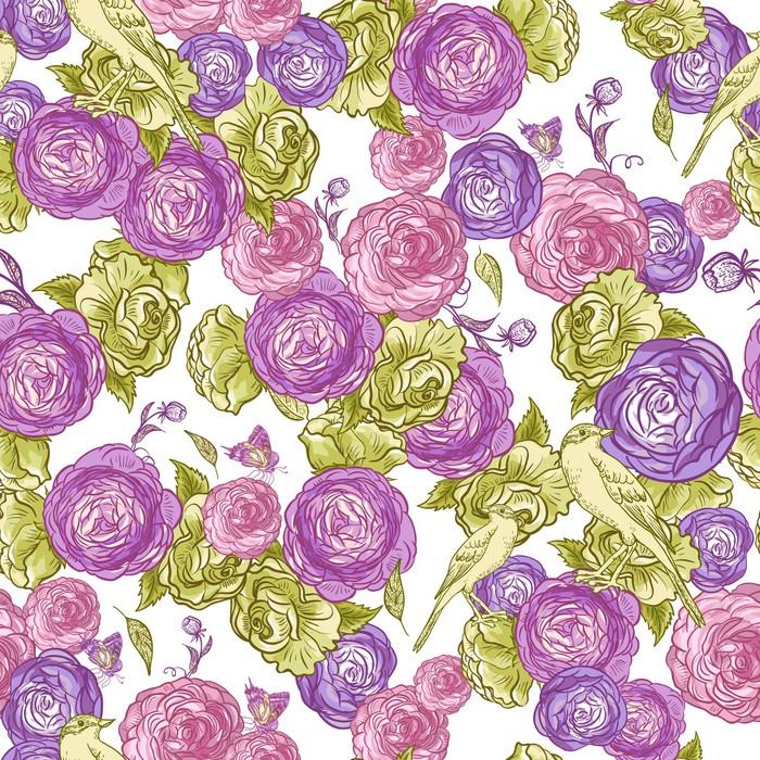 Vinylová Tapeta Bezešvé Rose pozadí s ptáky - Květiny
