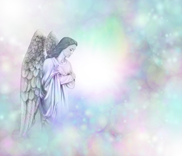 Angel on soft misty bokeh frame background wall mural for Angel wall mural