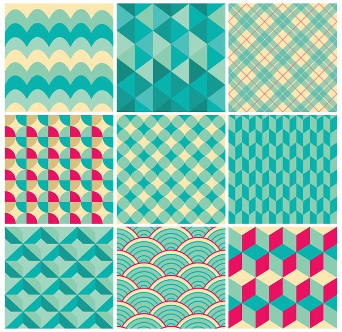 Vinylová Tapeta Sada Vintage barevné Seamless Geometrické Pozadí - Struktury