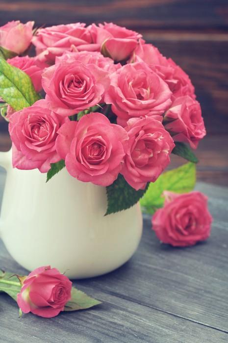 Vinylová Tapeta Kytice z růžových růží - Mezinárodní svátky