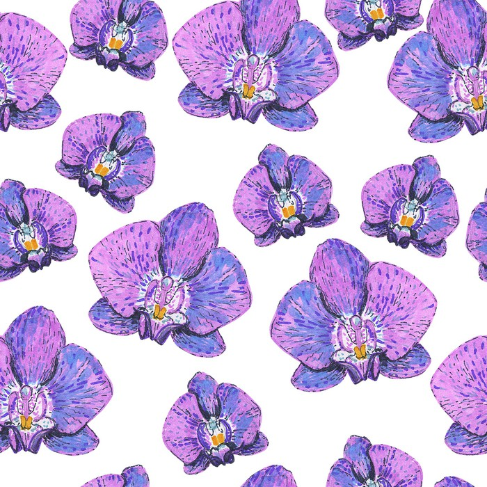 seamless texture with pink orchids painted markers wall mural