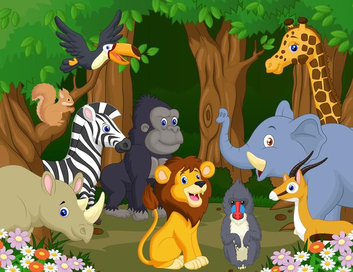 Carta da parati cartone animato animale selvatico pixers
