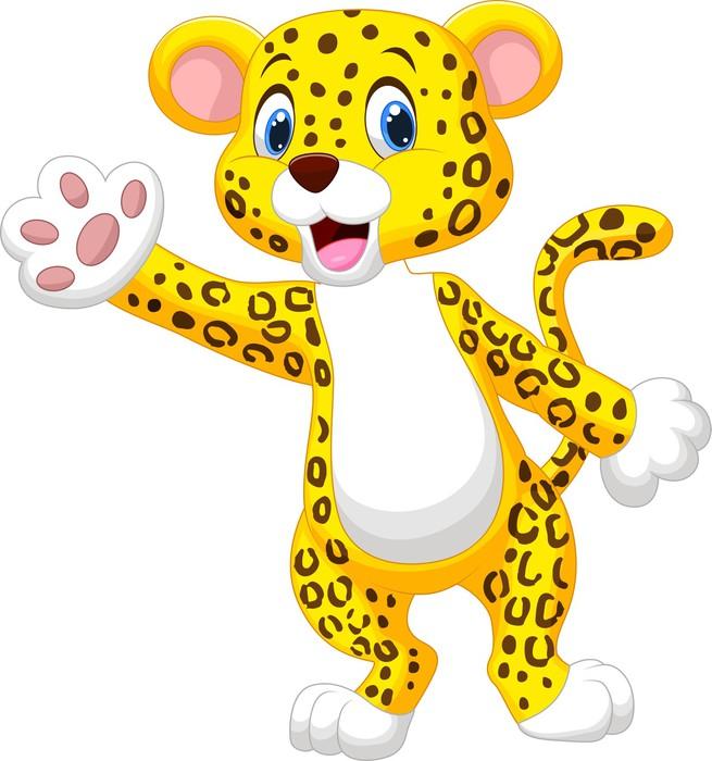 Carta da parati simpatico cartone animato leopardo mano for Carta da parati vinile