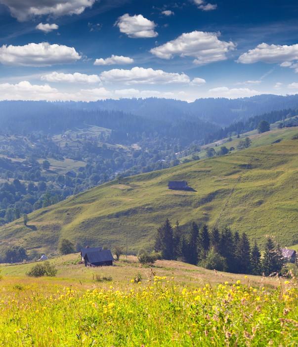 Vinylová Tapeta Krásné letní krajina v horách obci - Roční období