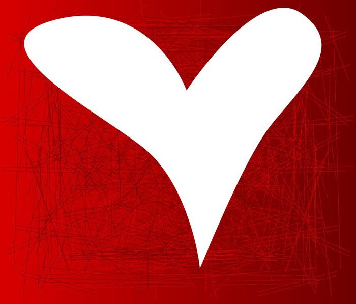 Vinylová Tapeta Bílé srdce - Štěstí