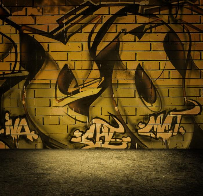 Street art graffiti wall background, urban grunge design. Wall Mural ...