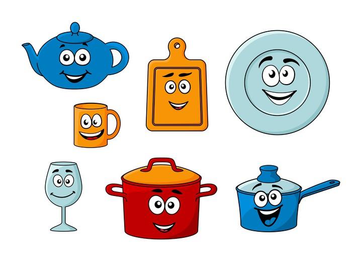Fotomural colecci n de utensilios de cocina de dibujos - Fotomural para cocina ...