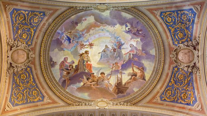 Carta da parati bologna soffitto affresco nella chiesa for Carta da parati per soffitto