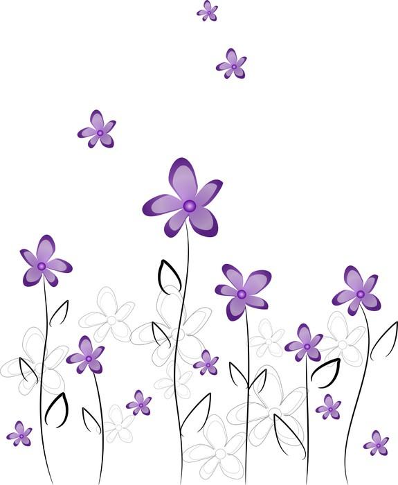 Vinylová Tapeta Fialové květy - Květiny