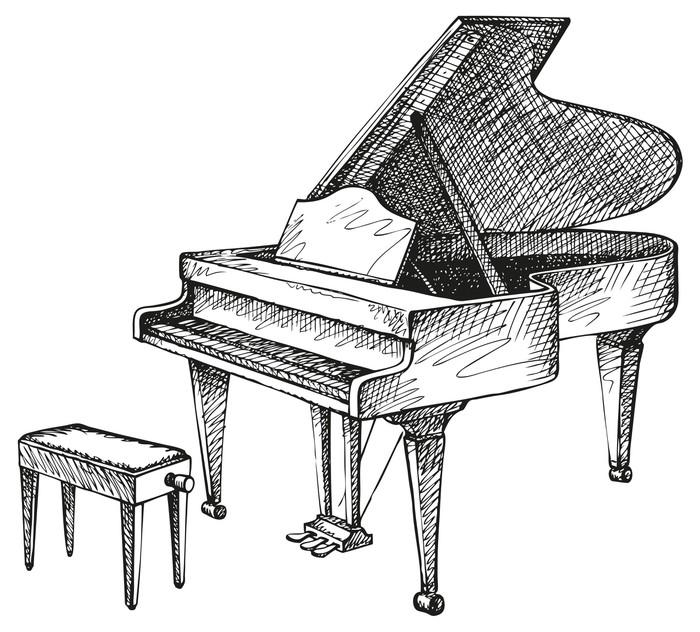 Carta da parati vector disegno di pianoforte e sgabello for Disegni di casa piano aperto
