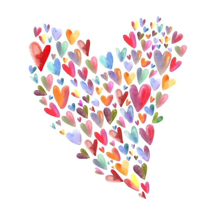 Vinylová Tapeta Akvarel srdce vzor - Umění a tvorba
