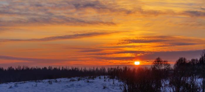 Vinylová Tapeta Zimní západ slunce - Příroda a divočina