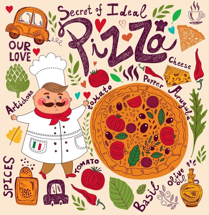 Vinylová Tapeta Pizza provedení menu s kuchařem - Evropská města
