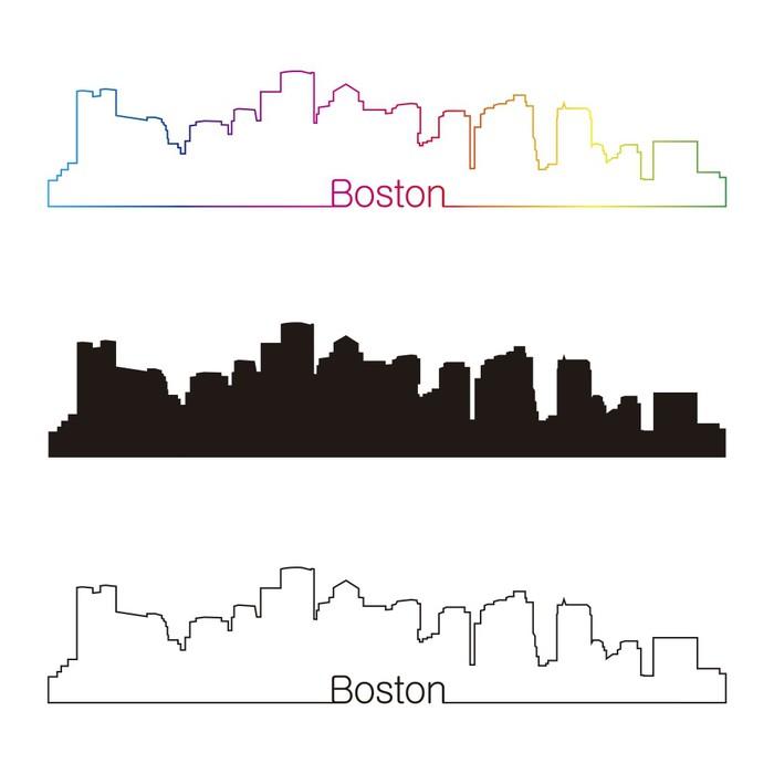 Vinylová Tapeta Boston panorama lineární styl s duhou - Amerika