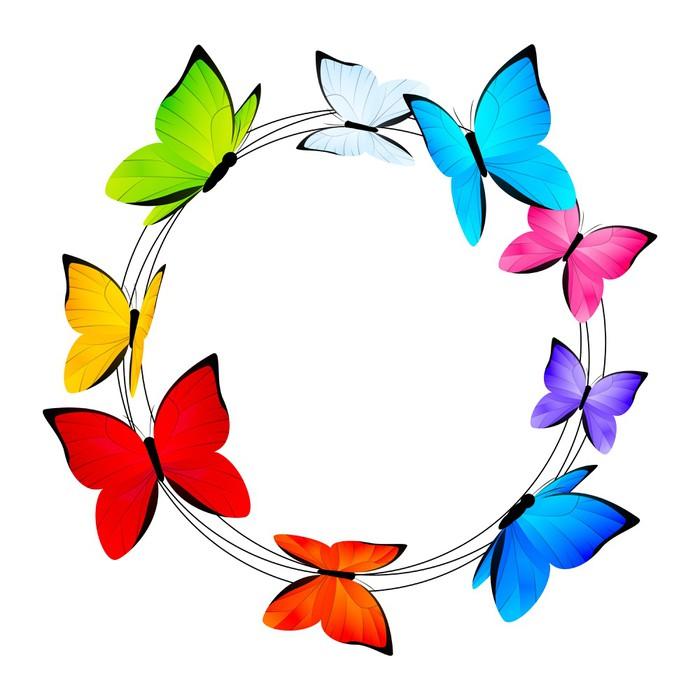 Vinilo Pixerstick Marco redondo con las mariposas de colores ...