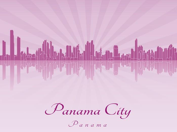 Vinylová Tapeta Panama City panorama ve fialové zářivé orchideje - Amerika