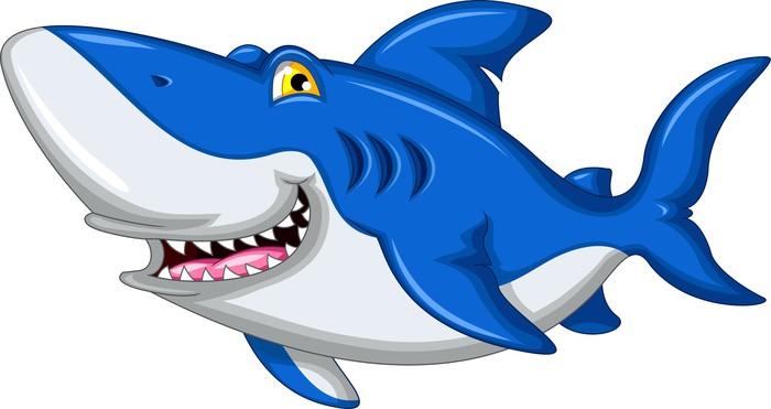 Adesivo squalo cartone animato sorridente pixers
