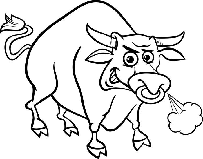 Bull Farm Animal Coloring Page Pixerstick Sticker
