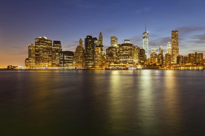 Vinylová Tapeta Manhattan Skyline z Brooklynu v noci - Americká města