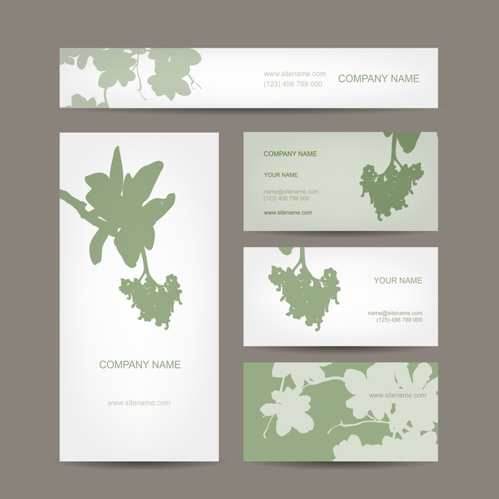 Business cards collection, floral design Wall Mural • Pixers® • We ...