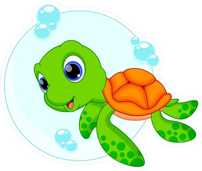 Vinilo pixerstick de dibujos animados lindo la tortuga