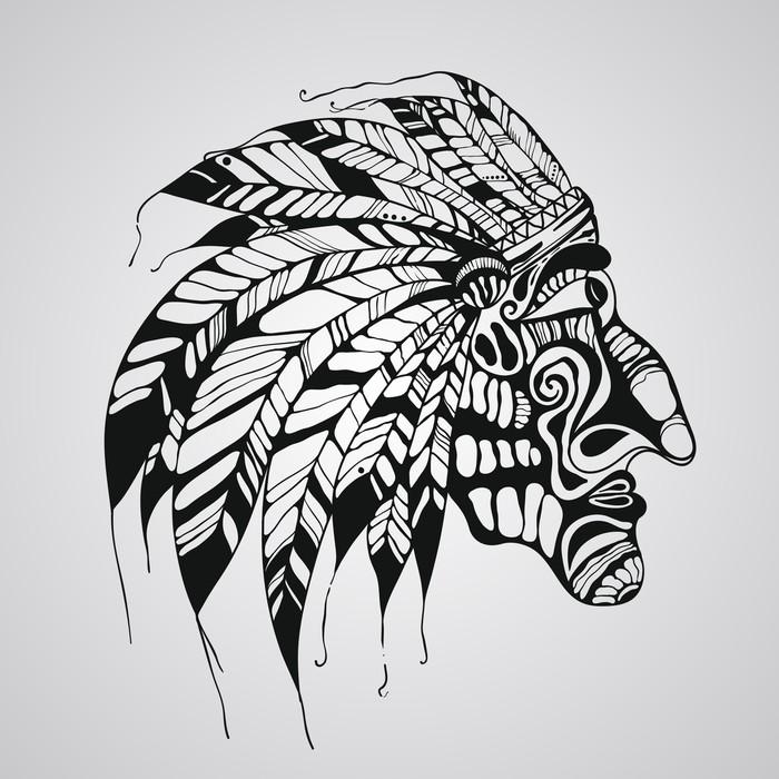 Vinylová Tapeta Vektor tetování, rodilý Američan indiánský náčelník - Části těla
