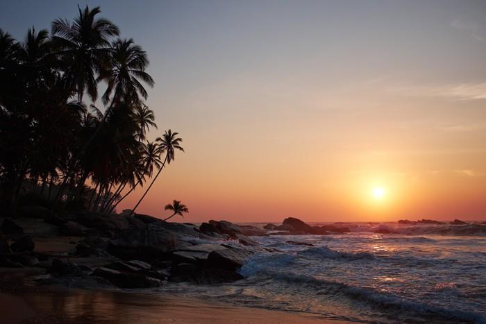 Vinylová Tapeta Západ slunce na moři, Sri Lanka beach - Asie