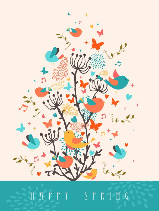 Happy spring greeting card illustration sticker pixers we live happy spring greeting card illustration pixerstick sticker seasons m4hsunfo