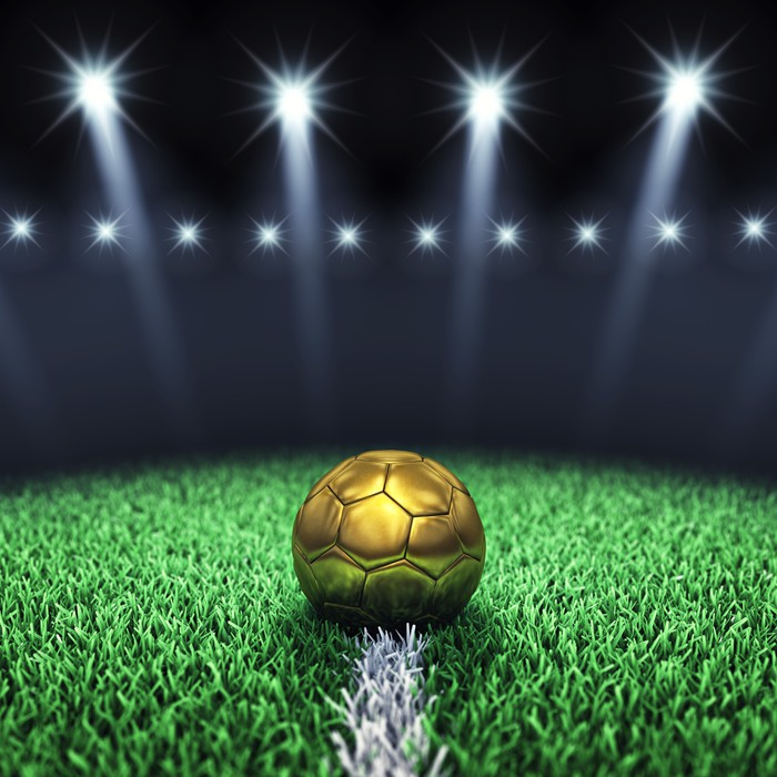 Soccer arena and golden ball Football stadium Wall Mural Pixers
