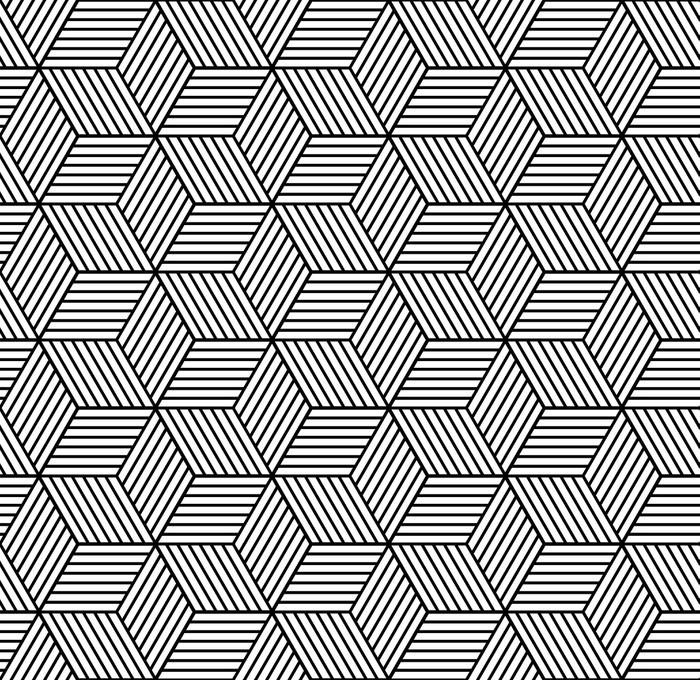Nálepka na Dveře Bezešvé geometrický vzor s kostkami. - Grafika