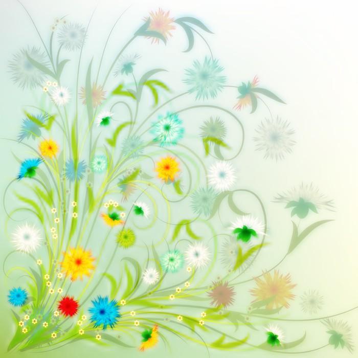 Vinylová Tapeta Abstraktní grunge ilustrace s jarními květinami - Pozadí