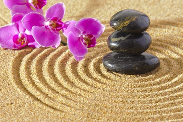 Quadro su tela giardino zen giapponese con pietre sabbia for Pietre per giardino zen