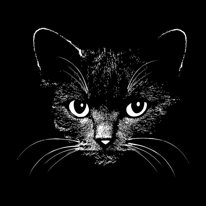Vinilo Pixerstick Ilustración vectorial de la cabeza del gato ...