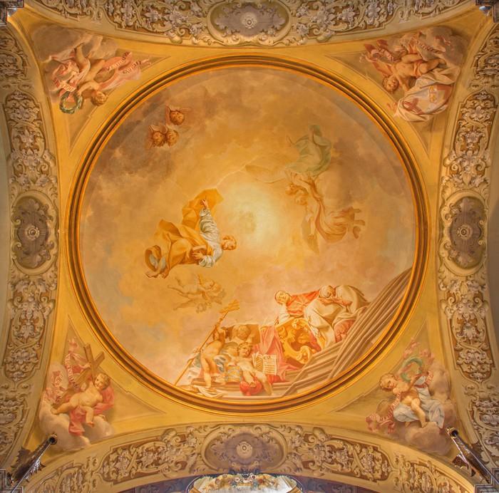 Papier Peint Vinyle Bologne - Fresque dans la coupole de côté de Dom - église Saint-Pierre - Europe