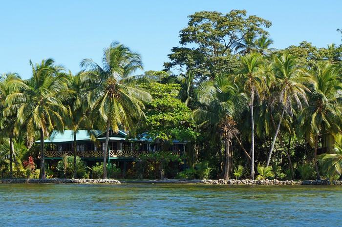 Vinylová Tapeta Waterfront dům s tropickou zahradou - Amerika