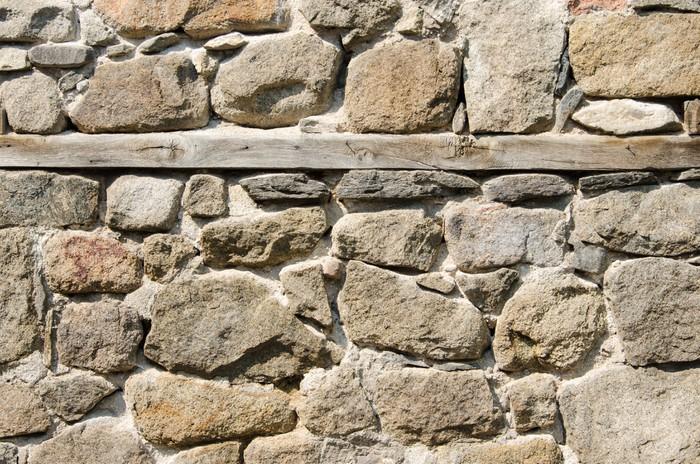 Vinylová Tapeta Stěna z drceného kamene, zdiva a dřevěné prkno - Těžký průmysl