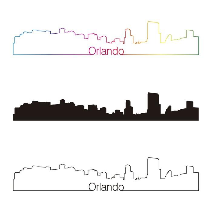 Vinylová Tapeta Orlando panorama lineární styl s duhou - Amerika