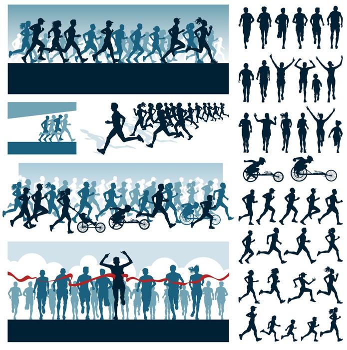 Vinylová Tapeta Vektorové editovatelné štítky a siluety běžících lidí - Individuální sporty