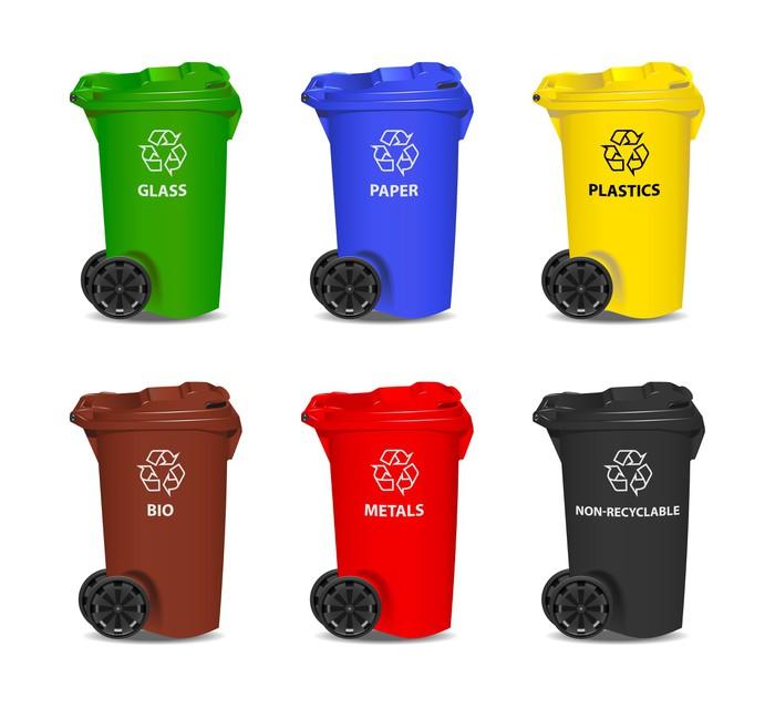 Fotomural conjunto de contenedores de reciclaje de colores - Contenedores de reciclar ...